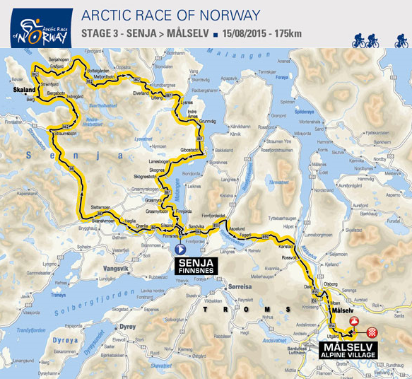 3. etappe Arctic Race of Norway 2015. Illustrasjon: www.letour.com