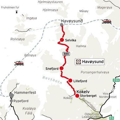 Kart Nasjonale turistveger Havøysund