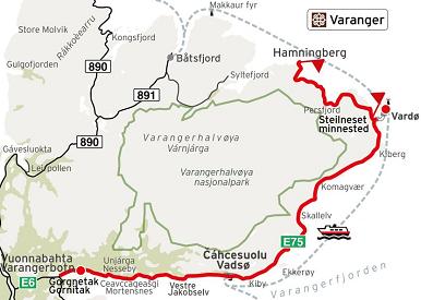 Kart Nasjonale turistveger Varanger